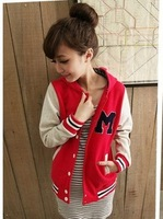 Baseball uniform female 2013 spring and autumn new arrival m letter with a hood sweatshirt cardigan