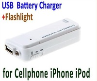 Cheap Portable USB Emergency Battery Charger + Flashlight for MP4 Cellphone  iPhone iPod White Color Free Shipping wholesale