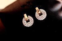 Free Shipping(MOQ 10$ Mix Order)Korean Luxury Sudded CZ Diamond Round 18KGP Women Drop Ear Earring Wholesale