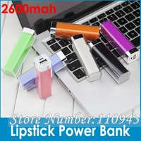 30pcs Lipstick 2600mAh MINI Portable Emergency Power Bank battery Charger for iphone 5 4S iphone5 HTC i9300 N7100 free DHL