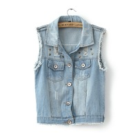 Free Shipping 2013 autumn fashion hole denim vest rivet decoration sleeveless thin outerwear female