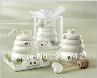 Free Shipping 30 SETS/LOT  Ceramic  Meant to Bee Honey Jar Honey Pot Wedding Party Favors and Gifts for Guest
