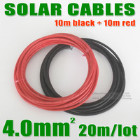 Free Shipping!! MC4 Black Red PV Solar Cable 4mm2 Used to Off-grid and Grid Connected PV System