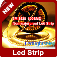 DHL EMS Free 5M 3528 SMD LED Strip 600 LEDs 120Leds / m. Warm White Non-waterproof Wholesale 100M/lot