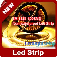 DHL EMS Free 5M 3528 SMD LED Strip 600 LEDs 120Leds / m. Warm White Non-waterproof Wholesale 100M/lot