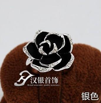 Jz0291 black rose ring female accessories adjustable