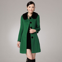 Free shipping 2013 new arrival winter Cashmere overcoat slim rex rabbit hair  women's woolen outerwear