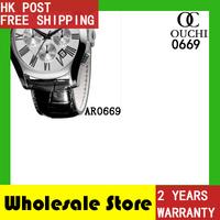 Free Shipping top luxury brand men watch quartz resistant black leather strap mens sports wrist watches AR0669 gift box