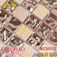 [KINGHAO] super promotion backsplash tile wallpaper stone mix glass mosaic wall design bathroom floor tile KCS1532