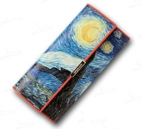 2013 New Van Gogh Oil Painting Magic Art Wallets & Holders Genuine Leather Purse For Money Clip Wallet Women Gift Item TBG0080