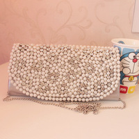Bride clutch marry bag small bag pearl belt rhinestone day clutch evening bag 2013 women's handbag
