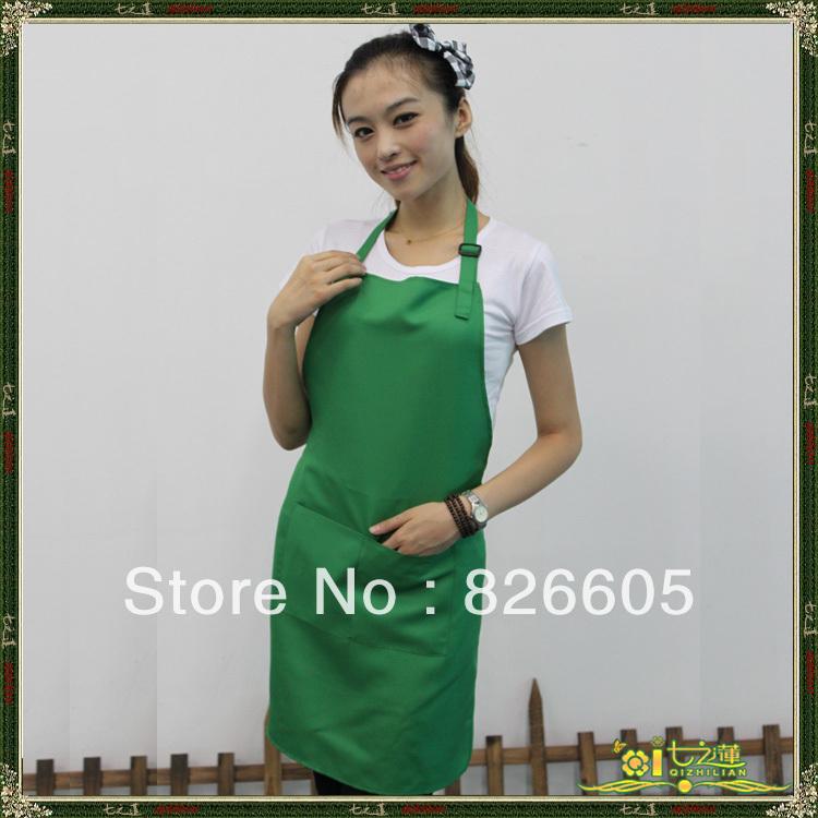Wholesale Women Ladies 12PCS/LOT Green adjustable Working Cooking Kitchen Painting Aprons Waiter Apron With Bib W/ 2 Pocket(China (Mainland))