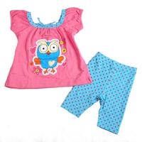 Free shipping 5 sets/lot girl cotton summer clothing sets, printing night owl rose t shirt + blue pant with rose polka dots