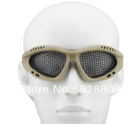 20pcs/lot Black Tan Green Square Holes Outdoor Sports CS Gaming Mesh Goggles Protective Eye Glasses No Fogging Air Soft Goggle