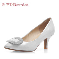 Genuine leather rhinestone elegant women's shoes nude color single shoes fashion female high-heeled shoes pointed toe