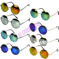 Drop Shipping Hot Cool Unisex Colorful Sunglasses Restoring  Mirror Round Frame Retro Sunglasses 8 Colors B2 18234