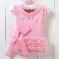 Free Shipping Baby  Girl  Pink Bodysuit Princess T-shirt Dress Romper Jumpsuit Christmas gift  B1589-B1591
