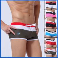 Men summer comfortable swimwear nylon patchwork cool swimsuit for men swimming trunks 7025 Free shipping