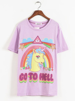 Harajuku zipper soft ice cream unicorn print loose short-sleeve T-shirt tee novelty dresses shirt women