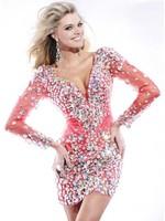 Stunning Sheath Deep V-neck Long Sleeve Beading  Short Mini Cocktail Dress Prom Homecoming  Dresses