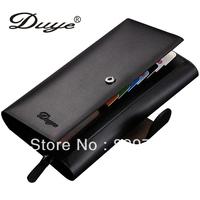 Free shipping Duye male wallet male day clutch long design cowhide clip multi function card holder zipper belt