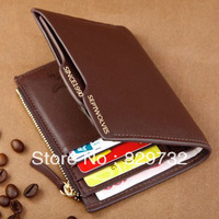 Free shipping Hot-selling purse male short design first layer of cowhide wallet multifunctional purse genuine leather