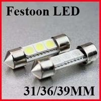 free shipping 100pcs 36mm 39mm 41mm 3 SMD 5050 white light LED Indicator festoon Light Car Interior light bulb