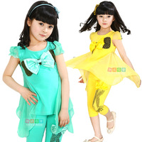 Children's clothing female child summer dance clothes child short-sleeve skirt sports casual chiffon bow set