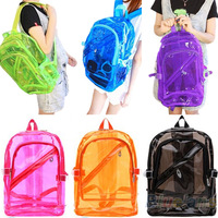 2013 Hottest Candy Colors Women's Backpack Transparent Clear Backpack Plastic Student School Bag Backpack Free Shipping