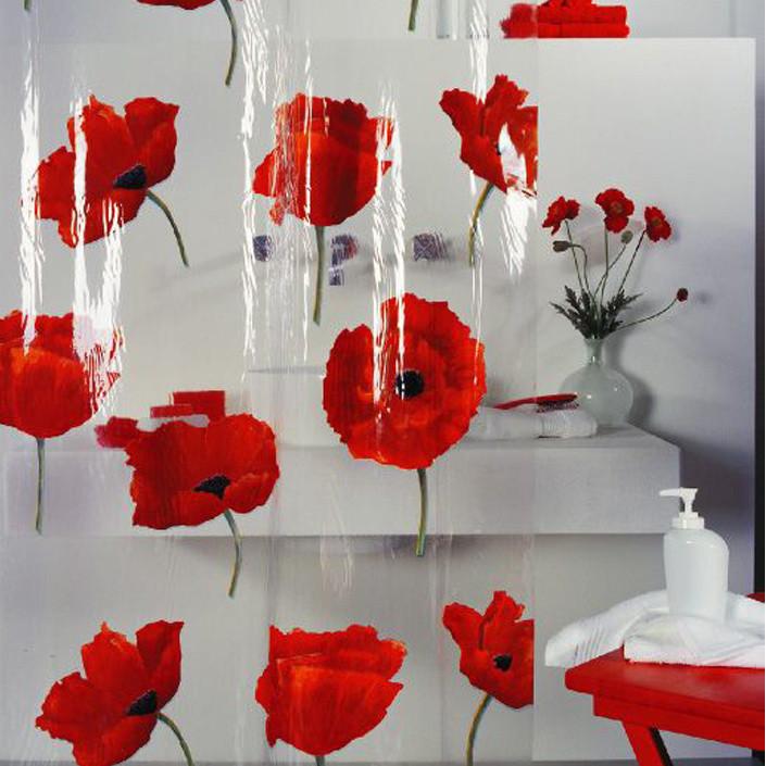 Achetez en gros rouge rideau de douche fleur en ligne - Rideau de douche rouge ...