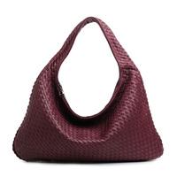 Fashion high quality luxury classic leather bag handmade woven bag women's handbag genuine leather shoulder bag big bag female