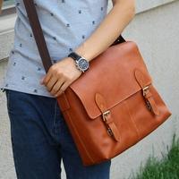 Motorcycle vintage preppystyle double buckles leather handmade orange genuine leather big bag casual messenger bag