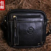 Handmade leather bag fashionable casual women's handbag women's messenger bag male genuine leather waist pack