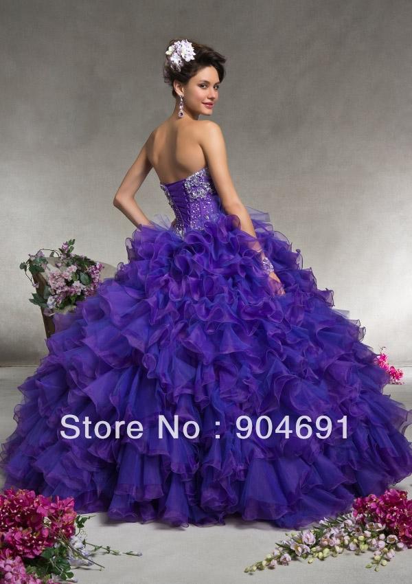 Blue Green Purple Wedding Dress 86