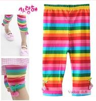 Children's clothing children's clothing trousers stripe legging pants capris girl pants 5pcs/lot free shipping