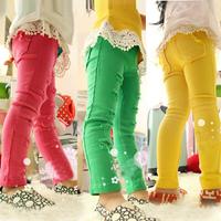 2013 Autun hole child skinny pants pencil pants ploughboys girl pants 3clors 5pcs/lot free shipping