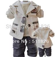 children's clothing small set cotton coat + T-shirt + pants set boy/child three pieces of set 5370 FREE SHIPPING