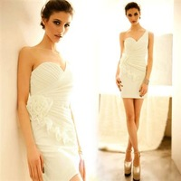 1589 2013 spring one shoulder heart bust ruffle flower-like one-piece dress - 290g beige