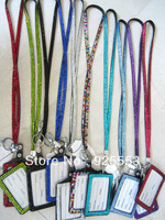 Fashion and beautiful rhinestone lanyard with ID badge holder keyring with keychain for USA market