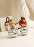 Luxury rhinestone in love fashion car perfume car hanging perfume bottle handmade rhinestone pasted