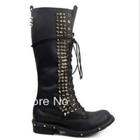 2013 Autumn and Winter Fashion rivet jeffrey campbell thick heel cowhide vintage mid-calf motorcycle boots women lace-up boots