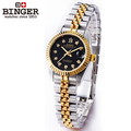Binger accusative case watch fully-automatic mechanical watch 18k lady women's watch gold black