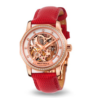 Seagull watch fully-automatic mechanical watch cutout ladies watch 719.372 rose gold red