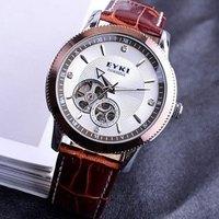 Ikey eyki fashion fully-automatic mechanical watch men's inveted cutout male strap watch
