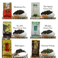 Promotion!! Natural 6 kinds of Different flavors,Dianhong+Puer+Green Tea+Maojian+Ginseng Oolong Tea+Dahongpao,1098 Famous Tea