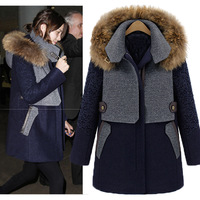 Fashion winter fur collar medium-long thickening cotton-padded woolen overcoat f339 woolen outerwear female
