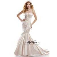 13W024 Beaded Taffeta  Mermaid Court Train Gorgeous Luxury Unique Brilliant Bridal Wedding Dress Free Shipping