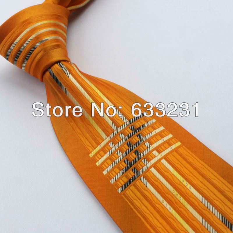 YIBEI Ties Bordered Orange/Yellow's Stripes Necktie Novelty Mens Neck Tie 8.5cm for men dress shirts Wedding(China (Mainland))