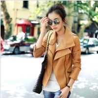 Free Shipping Motorcycle Leather Jackets PU 2013 Zippers Plus Size Outerwear Short Leather Jacket Coat jacket Leather Women