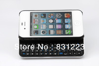 Ultra-slim Slide Hard Shell Wireless Bluetooth Keyboard Cover Case for iPhone 4 4S Black White with retail package Free shipping
